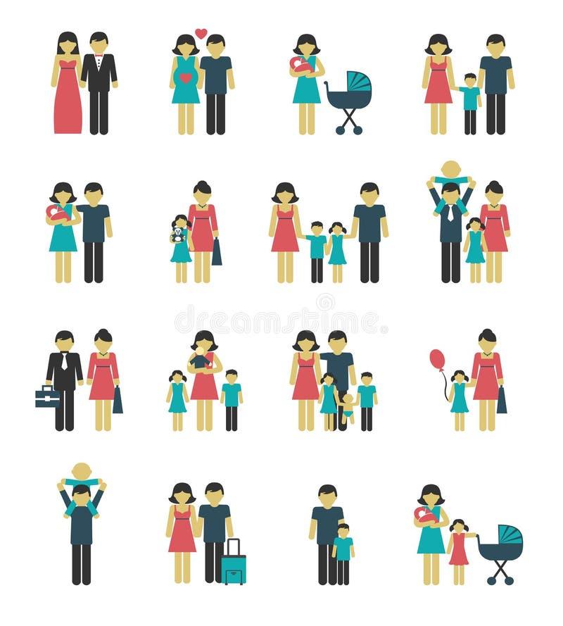 Ícones da família ajustados ilustração do vetor