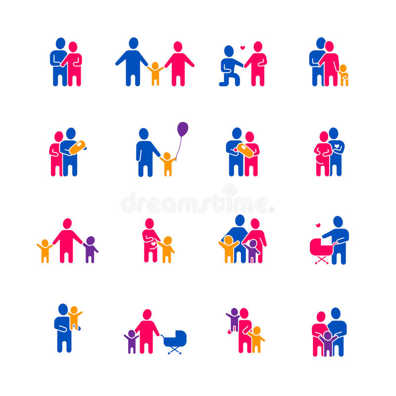 Ícones da família ajustados ilustração stock