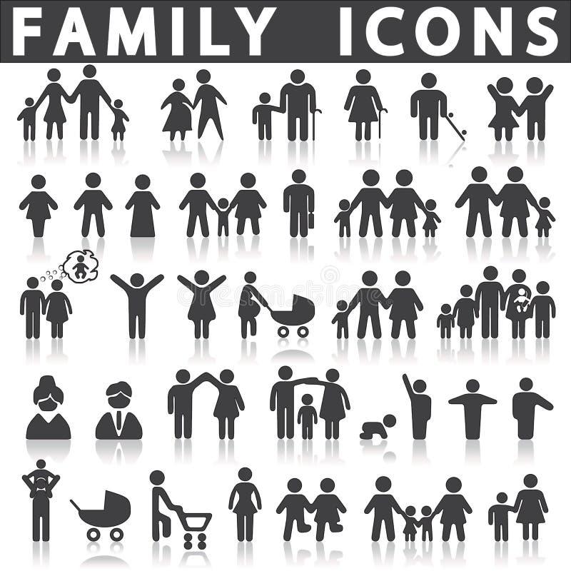 Ícones da família ajustados ilustração royalty free