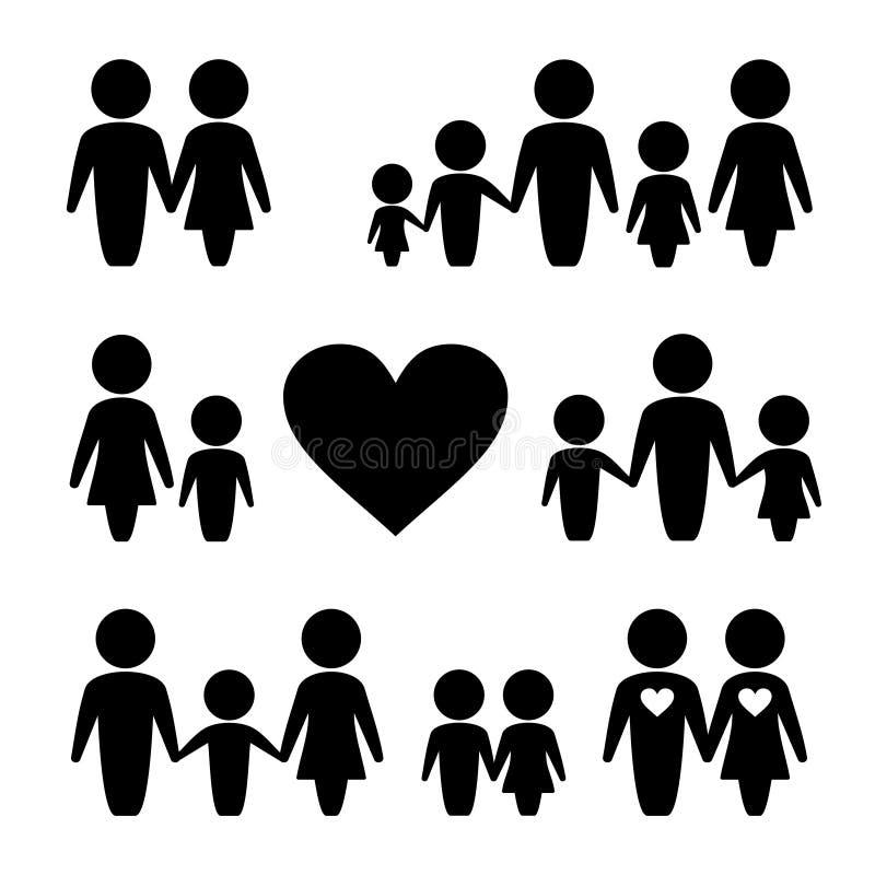 Ícones da família dos povos ajustados ilustração royalty free