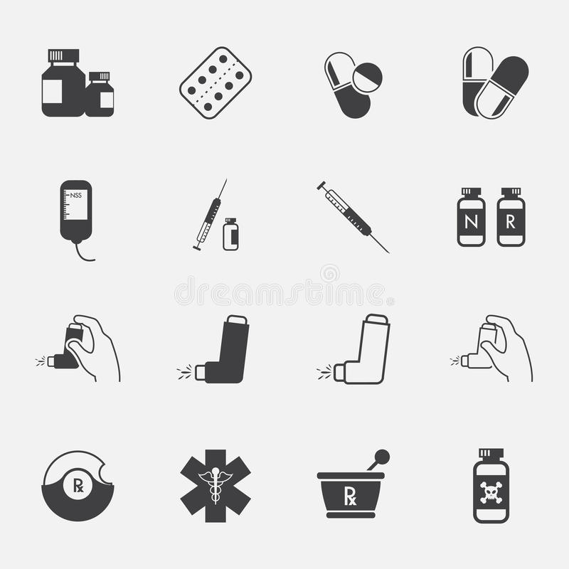 Ícones da farmácia e ícones médicos ajustados ilustração do vetor