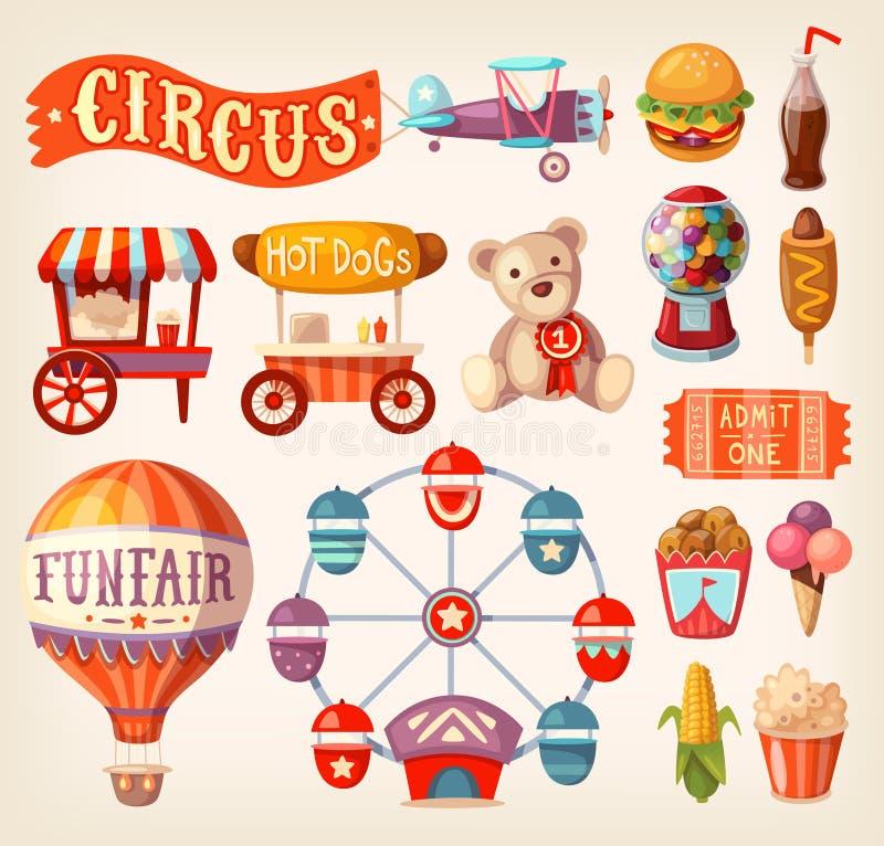 Ícones da feira de divertimento ilustração do vetor