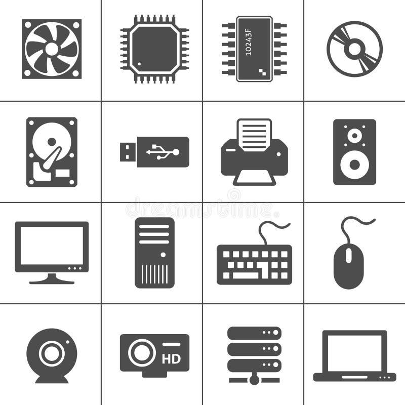 Ícones da ferragem de computador ilustração do vetor