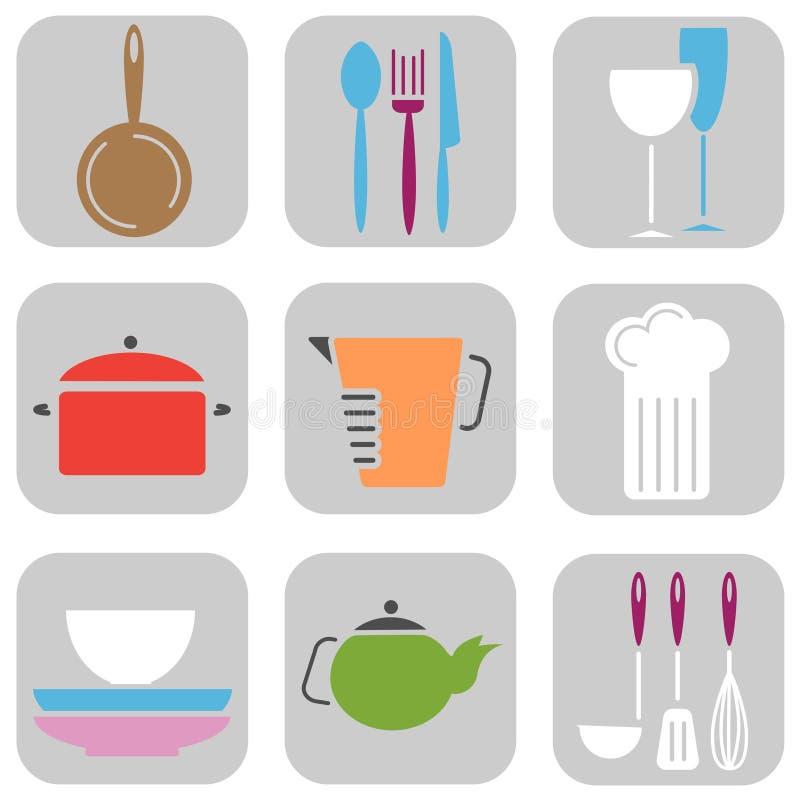 Ícones da ferramenta da cozinha ilustração stock