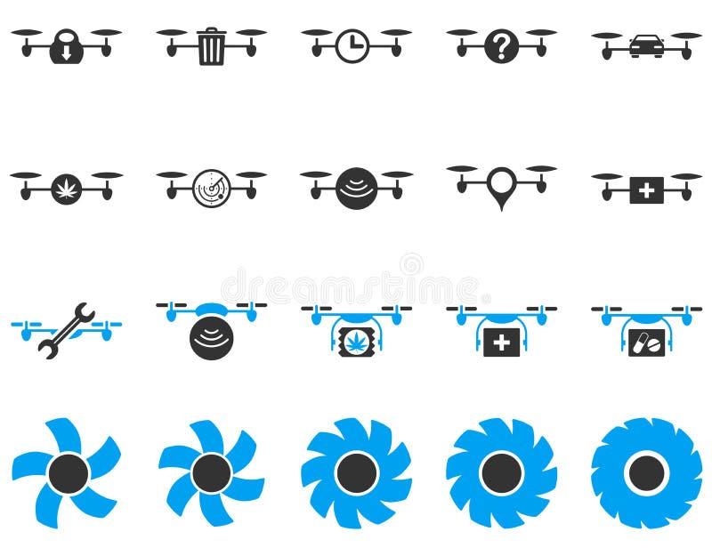 Ícones da ferramenta do zangão e do quadcopter do ar ilustração do vetor