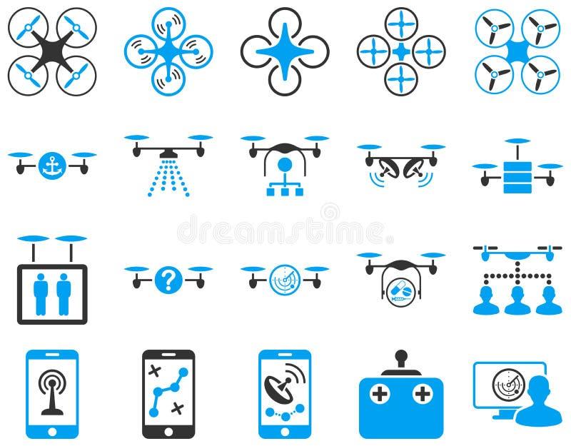 Ícones da ferramenta do zangão e do quadcopter do ar ilustração royalty free
