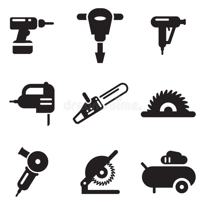 Ícones da ferramenta elétrica ilustração stock