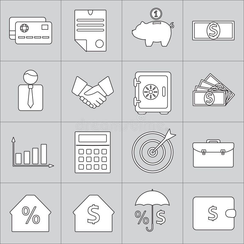 Ícones da finança ajustados Coleção do negócio e da operação bancária Ilustração do vetor ilustração royalty free
