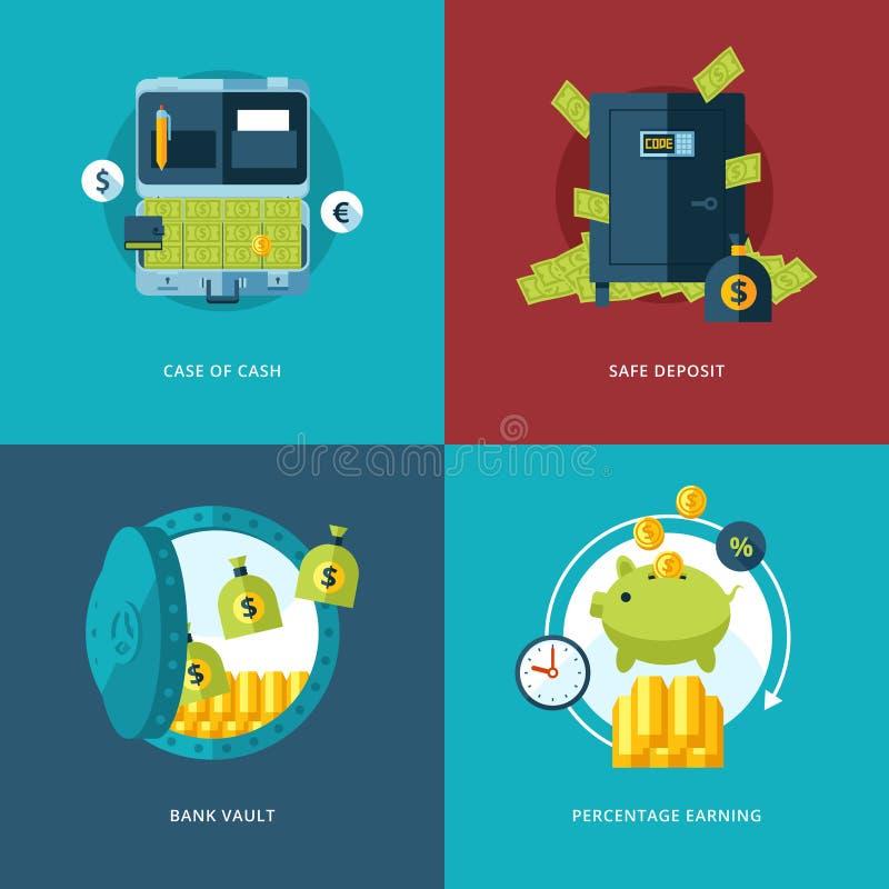 Ícones da finança e do dinheiro do vetor ajustados ilustração royalty free