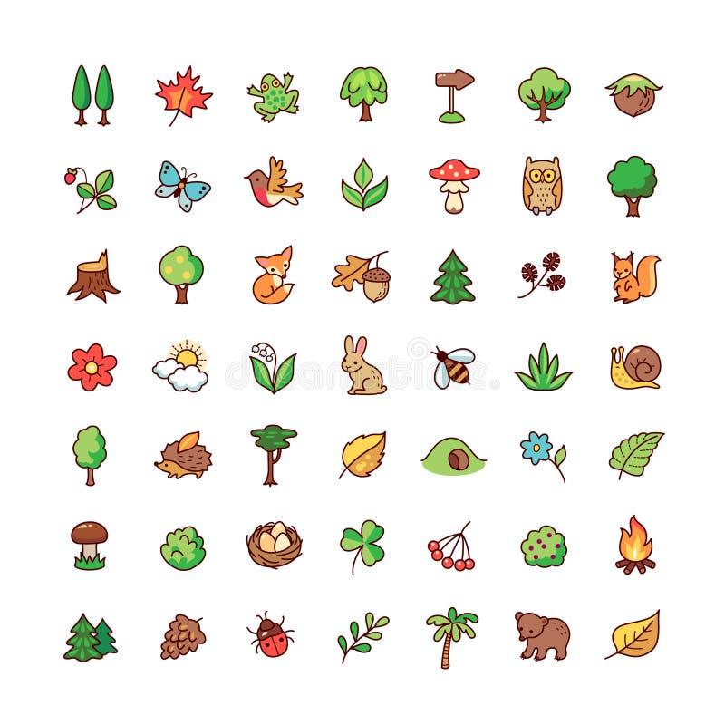 Ícones da floresta ajustados ilustração royalty free