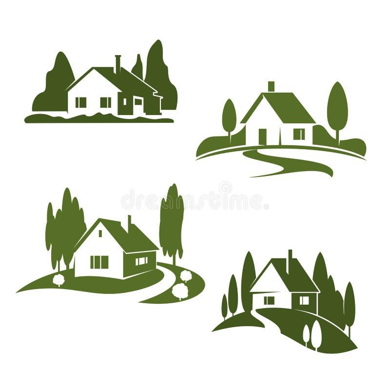 Ícones da floresta da exploração agrícola da casa verde do vetor ilustração do vetor
