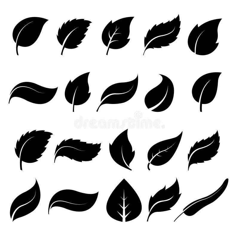 Ícones da folha das silhuetas ilustração royalty free
