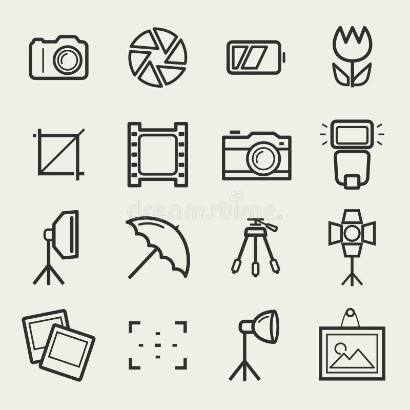 Ícones da foto ajustados Símbolos do esboço do vetor ilustração do vetor
