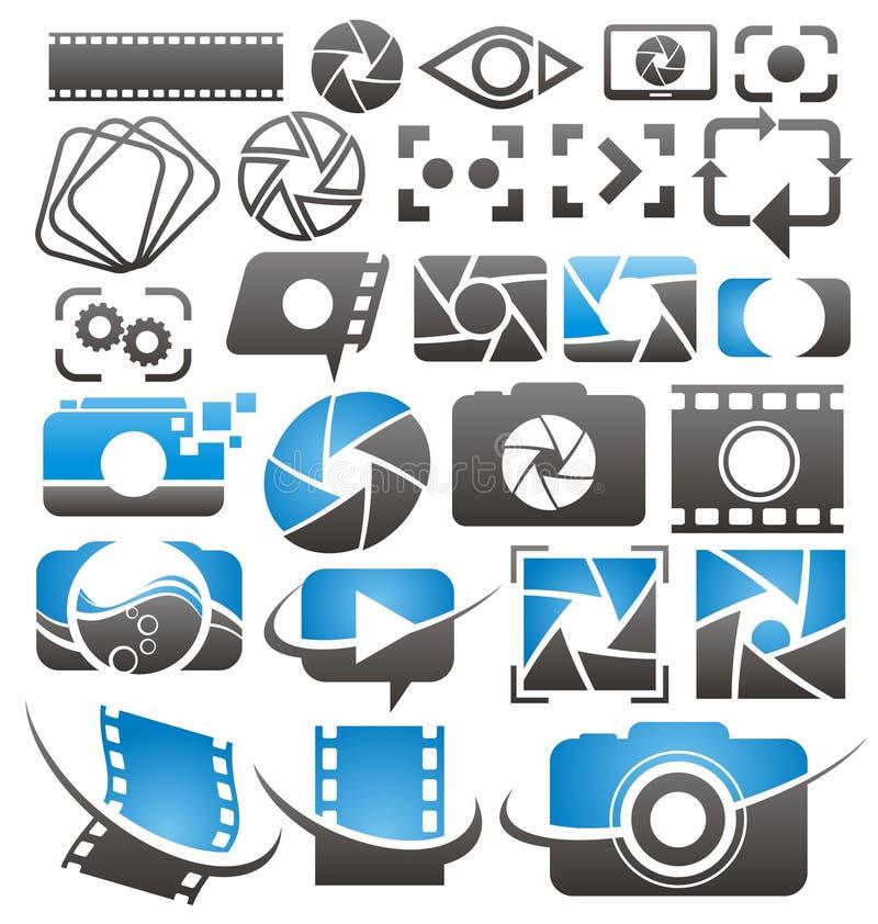 Ícones da foto e do vídeo, símbolos, logotipos e coleção l dos sinais ilustração royalty free