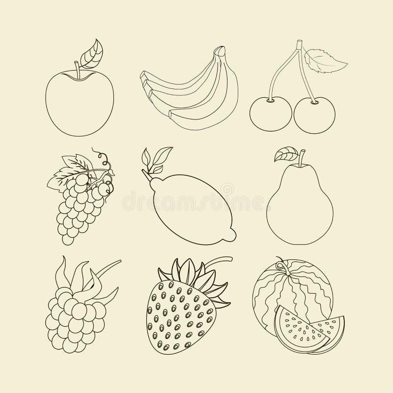 Ícones da fruta ajustados ilustração royalty free