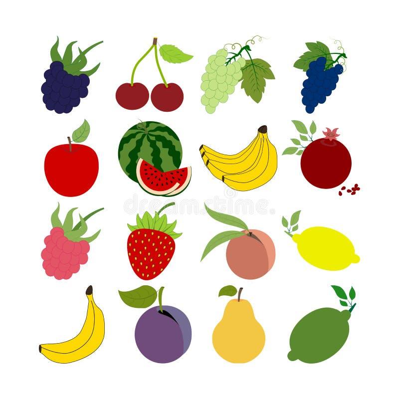 Ícones da fruta ajustados ilustração do vetor