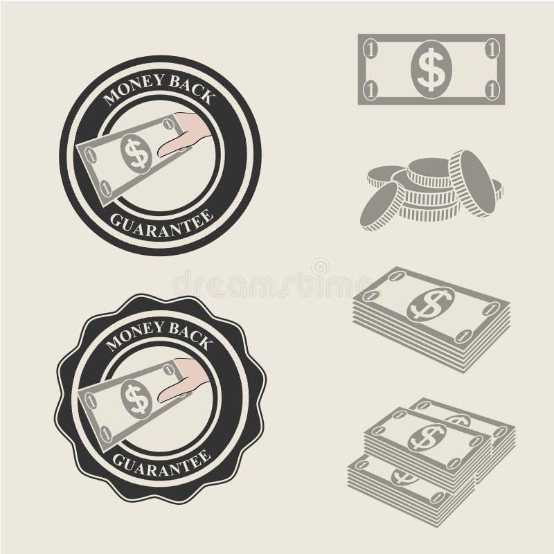 Ícones da garantia da parte traseira do dinheiro e símbolos do pagamento ilustração stock