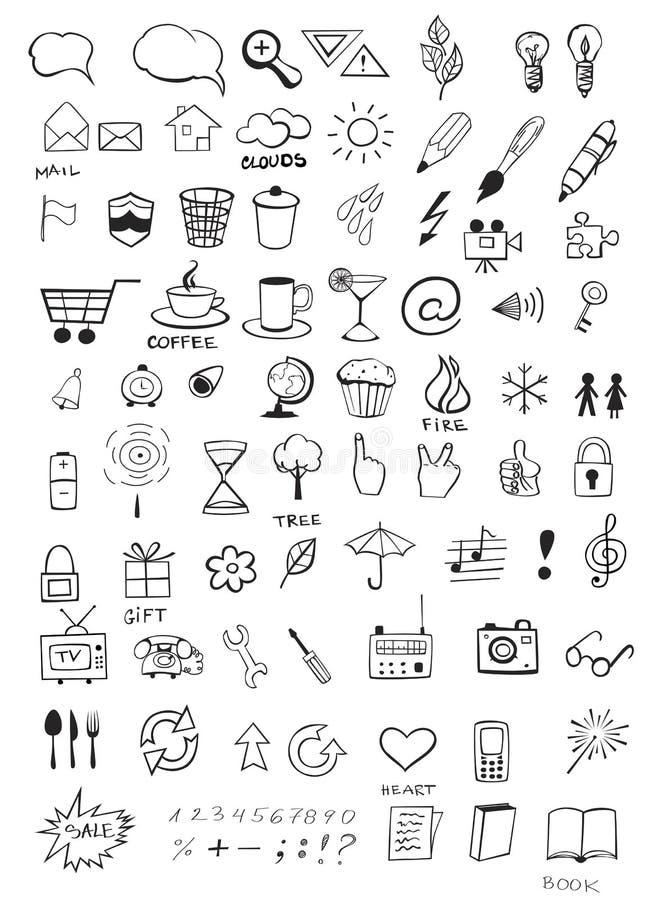 Ícones da garatuja ilustração royalty free