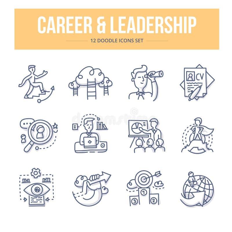 Ícones da garatuja da carreira & da liderança ilustração stock