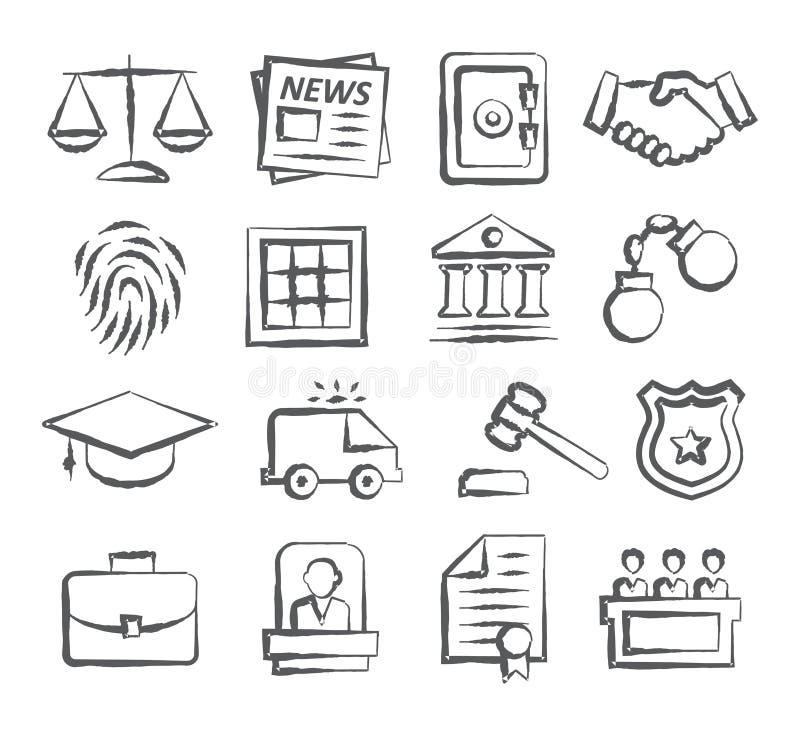 Ícones da garatuja da lei ilustração stock