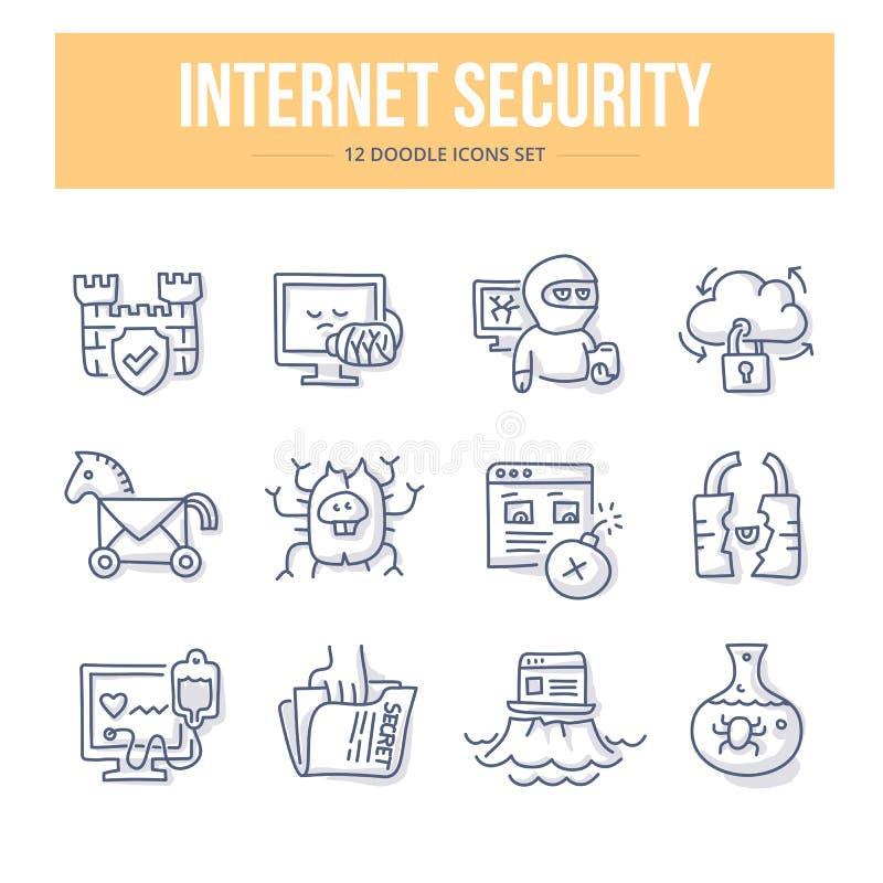 Ícones da garatuja da segurança do Internet ilustração stock