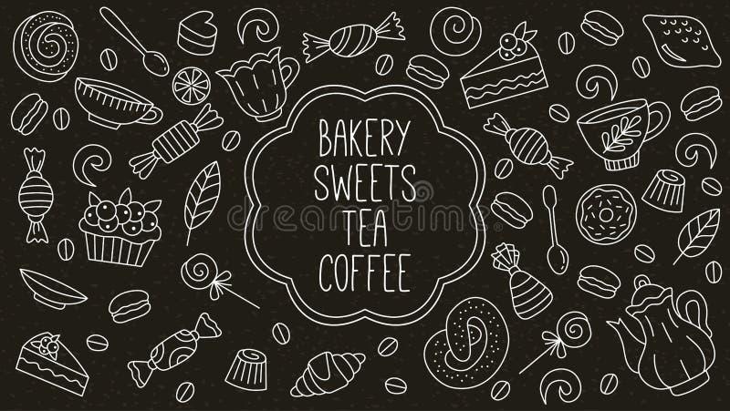 Ícones da garatuja do café do chá das sobremesas dos doces da padaria ajustados ilustração stock