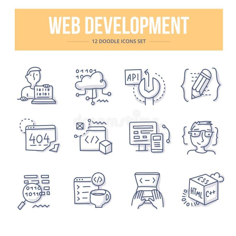 Ícones da garatuja do desenvolvimento da Web ilustração royalty free