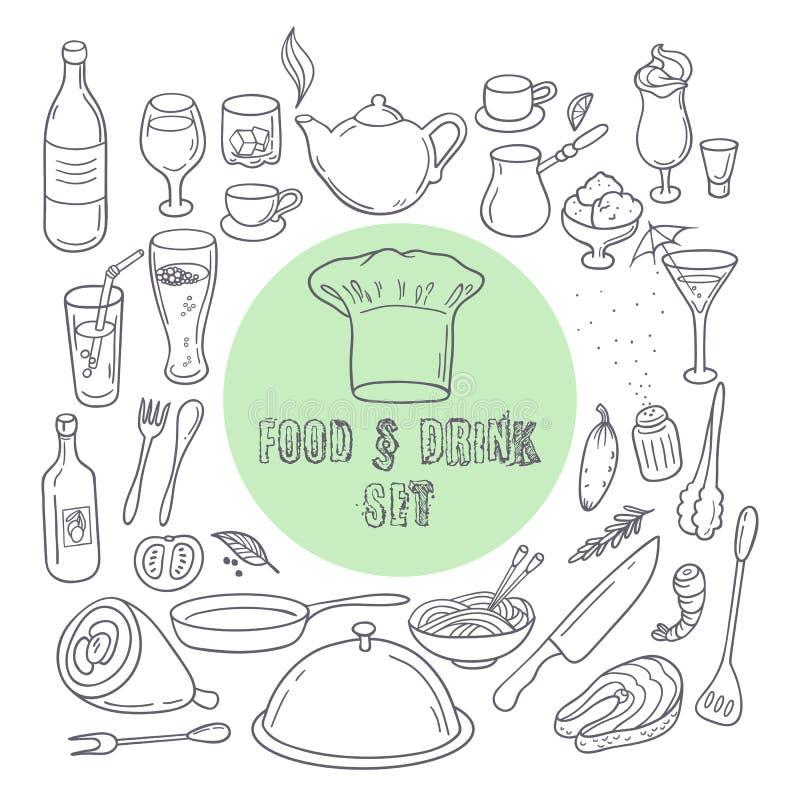 Ícones da garatuja do esboço do alimento e da bebida Grupo de elementos tirados mão da cozinha ilustração do vetor
