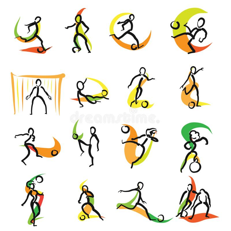 16 ícones da garatuja do futebol ajustados ilustração stock