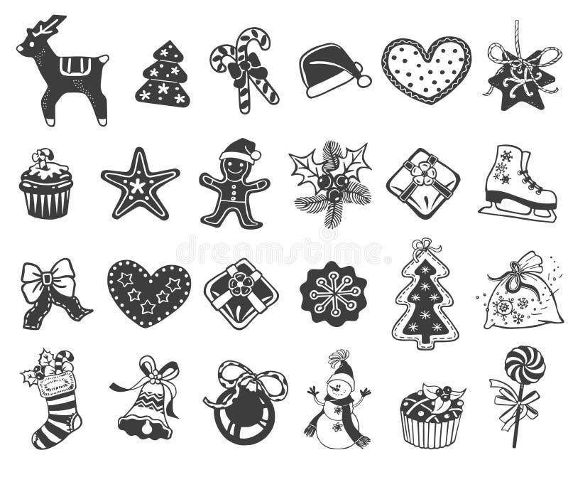 Ícones da garatuja do Natal ilustração stock