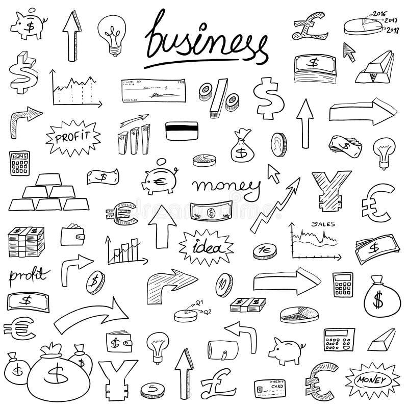 Ícones da garatuja do negócio ilustração do vetor