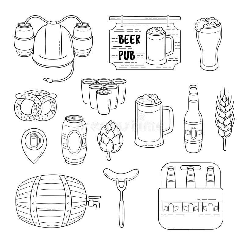Ícones da garatuja do vetor Grupo de símbolos da cerveja Capacete da cerveja, caneca, vidro, salsicha, tambor, pong da cerveja ilustração do vetor