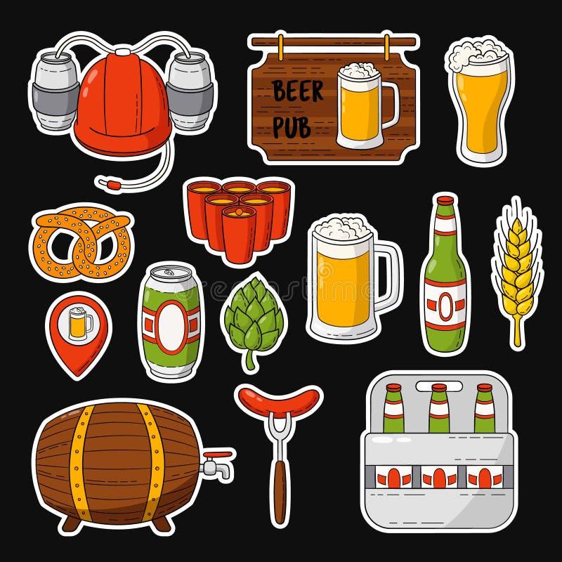 Ícones da garatuja do vetor Grupo de símbolos da cerveja Capacete da cerveja, caneca, vidro, salsicha, tambor, pong da cerveja ilustração royalty free