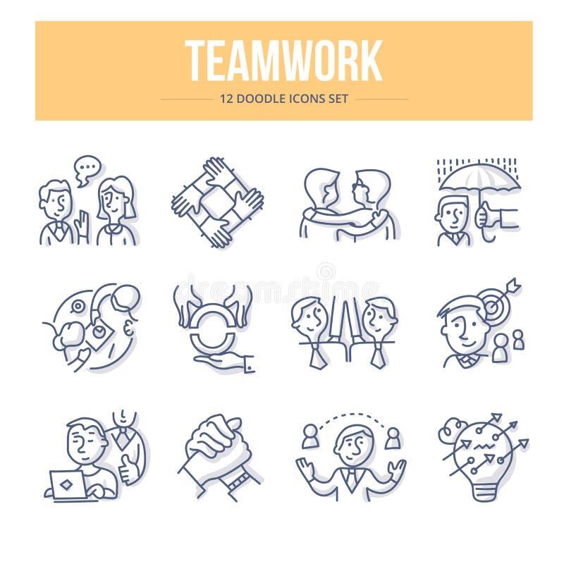 Ícones da garatuja dos trabalhos de equipa ilustração stock