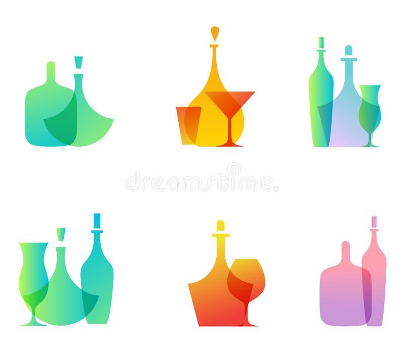 Ícones da garrafa de vidro ilustração royalty free