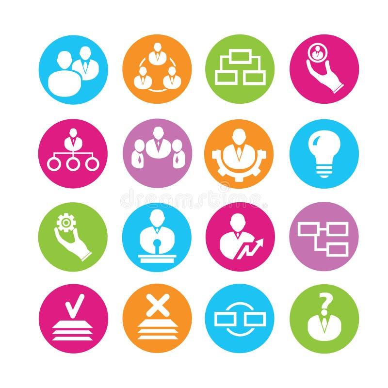 Ícones da gestão da organização ilustração stock