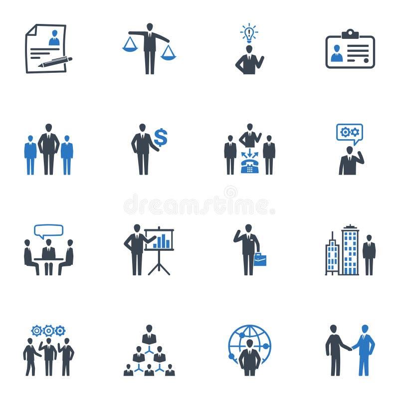 Ícones da gestão e dos recursos humanos - série azul ilustração royalty free