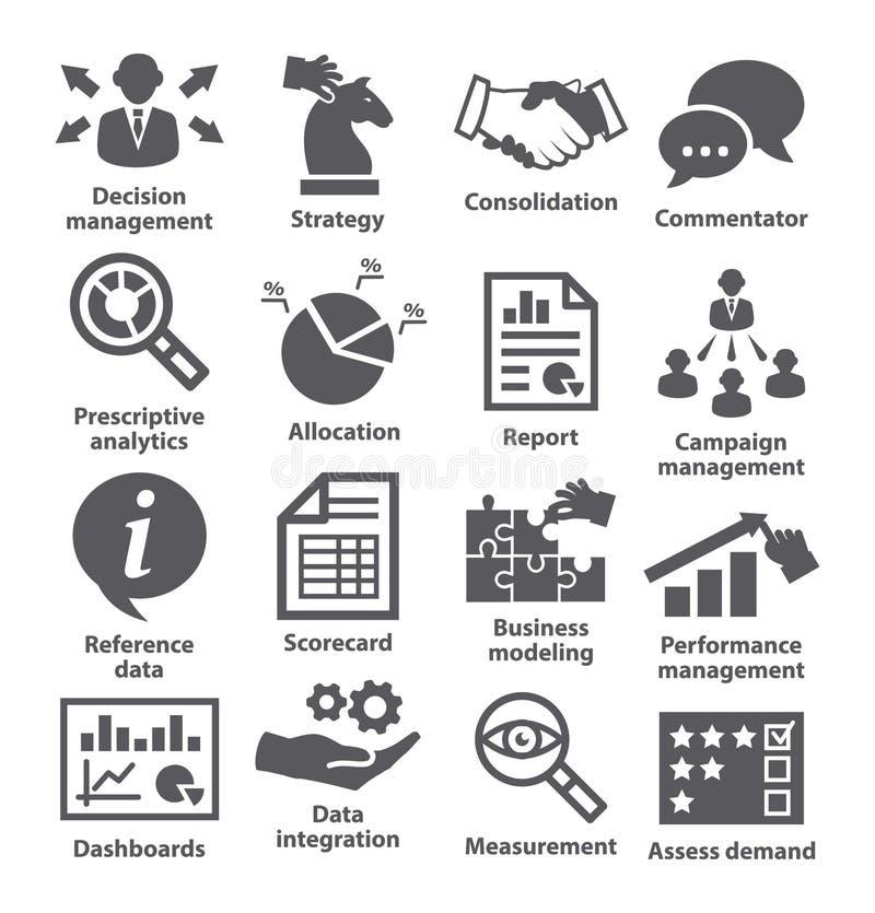Ícones da gestão empresarial Bloco 18 ilustração do vetor