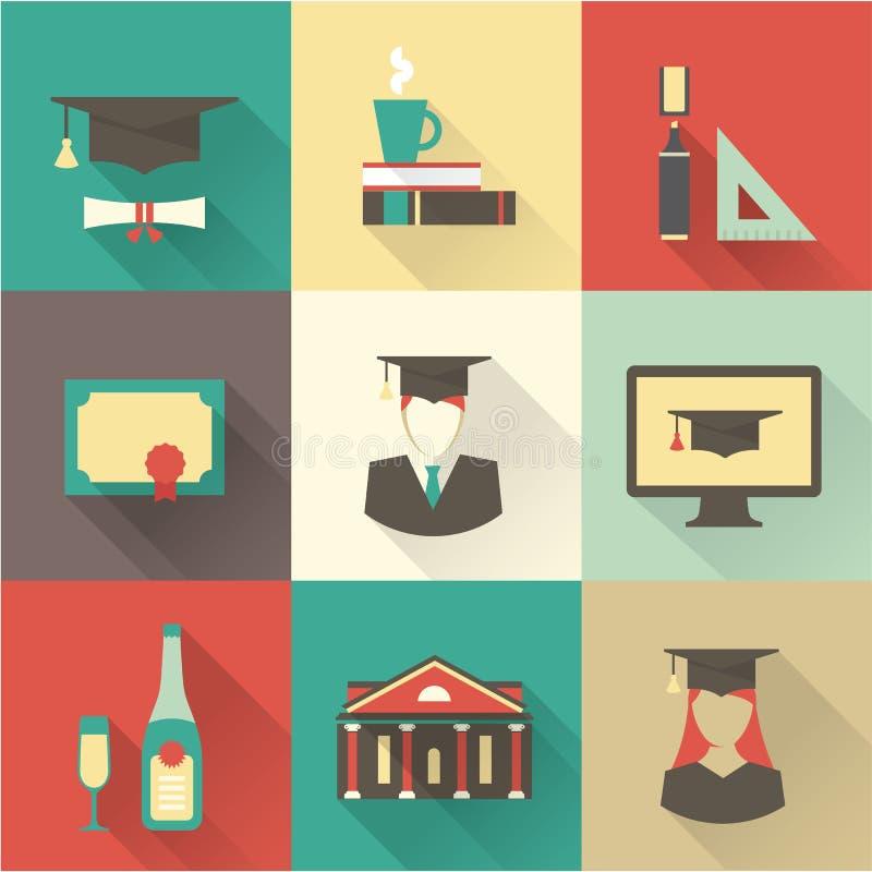 Ícones da graduação ilustração royalty free