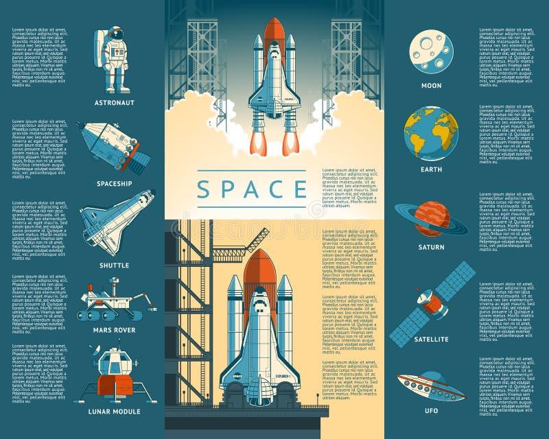 Ícones da grande coleção do espaço ilustração do vetor