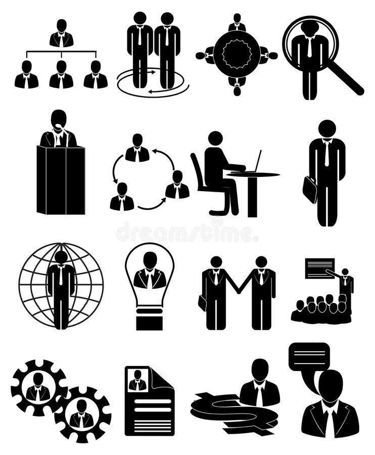 Ícones da hora da gestão de recursos humanos ajustados ilustração royalty free