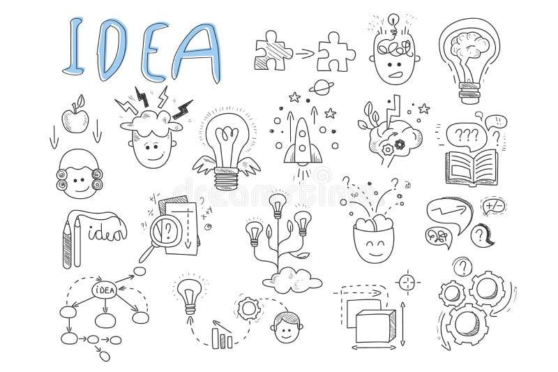 Ícones da ideia ajustados Rocket, enigmas, engrenagens de gerencio, livro aberto, penas, cabeça humana, lupa, cálculos, lâmpada c ilustração stock
