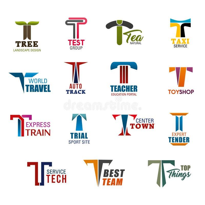 Ícones da identidade corporativa ou do negócio com letra T ilustração stock