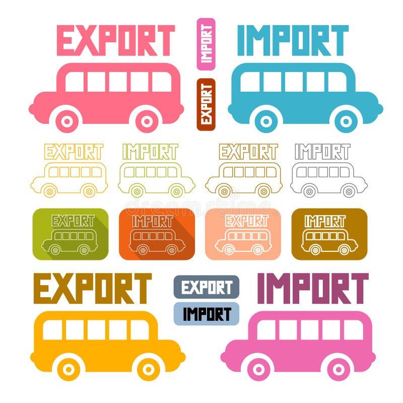 Ícones da importação da exportação ajustados ilustração do vetor