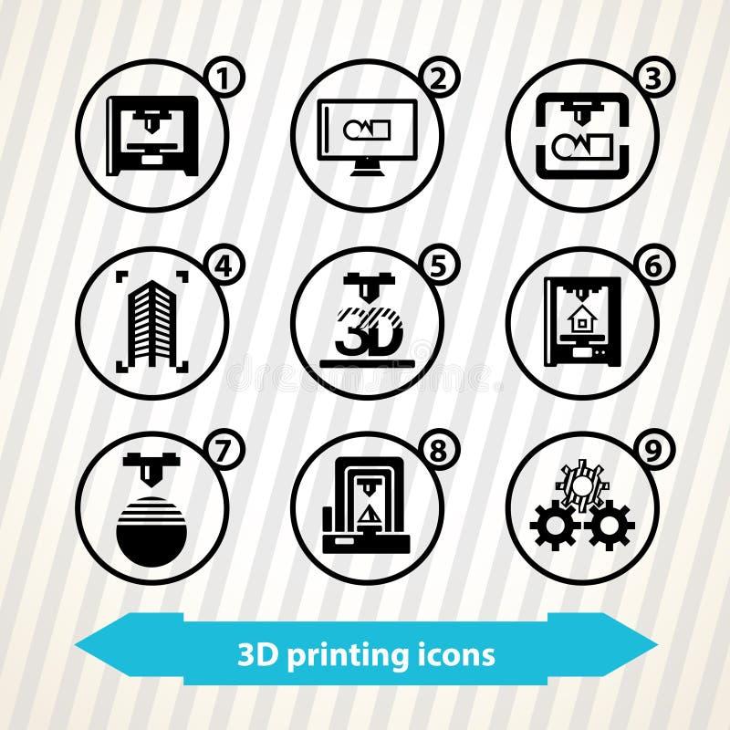 ícones da impressão 3d ilustração stock
