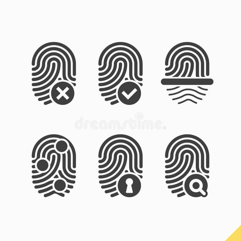 Ícones da impressão digital ajustados ilustração royalty free