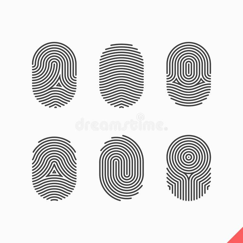 Ícones da impressão digital ajustados ilustração stock