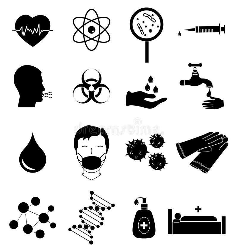 Ícones da infecção do vírus ajustados ilustração stock