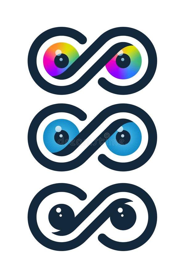 Ícones da infinidade com globos oculares ilustração do vetor