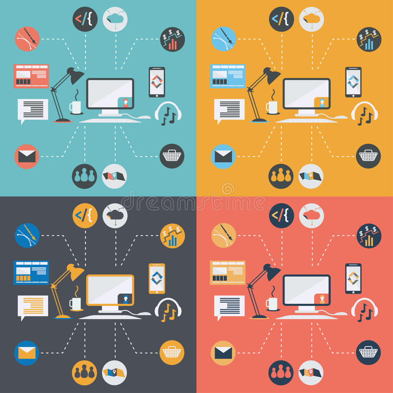 ícones da informática no projeto liso ilustração royalty free